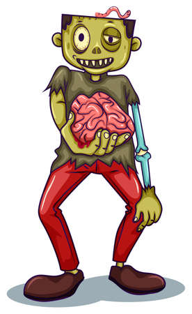 dangerous man: Illustration of a zombie holding his brain on a white background Illustration