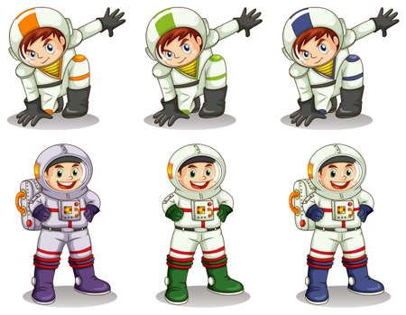 lllustration: lllustration of the young astronauts on a white background
