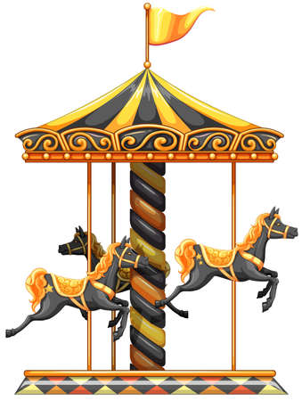 amusement park ride: lllustration of a merry-go-round ride on a white background Illustration