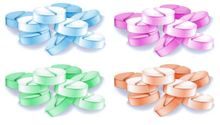 inhibit: lllustration of the coloured pills on a white background