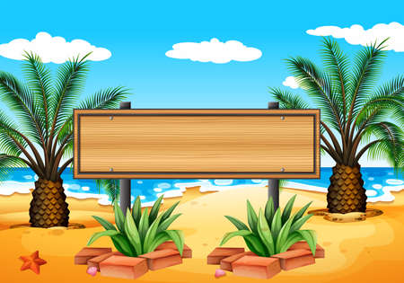 signboard: Illustration of an empty signboard at the beach Illustration