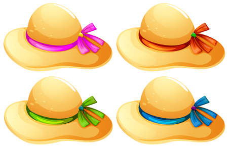 lllustration of the fashionable hats on a white background Vector