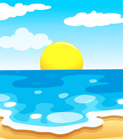 wavelengths: lllustration of a beautiful view of the beach with a sun on a white background Illustration