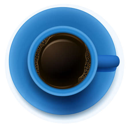 lllustration: lllustration of a blue cup with coffee on a white background