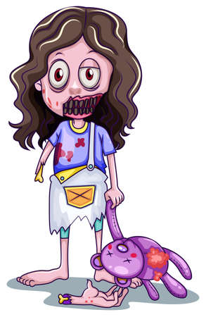 dead girl: lllustration of a scary baby zombie on a white background