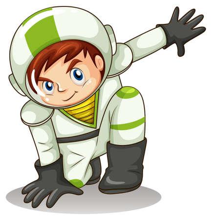lllustration: lllustration of a young male explorer on a white background Illustration
