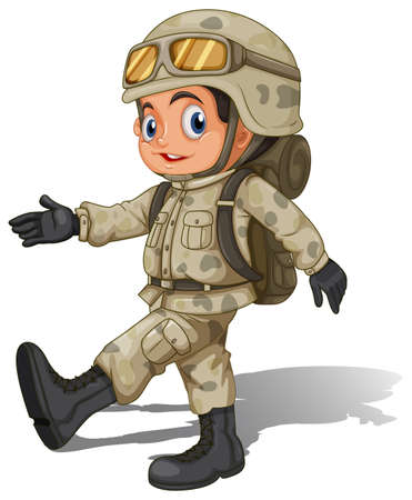armed force: lllustration of a young smiling soldier on a white background Illustration
