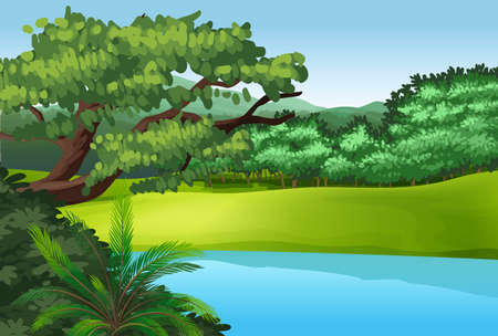 mountain view: Illustration of a beautiful landscape with a pond