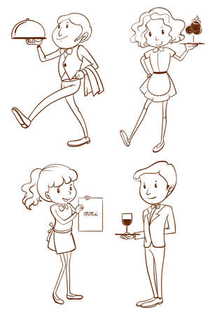 lllustration: lllustration of the waiters and waitresses on a white background Illustration