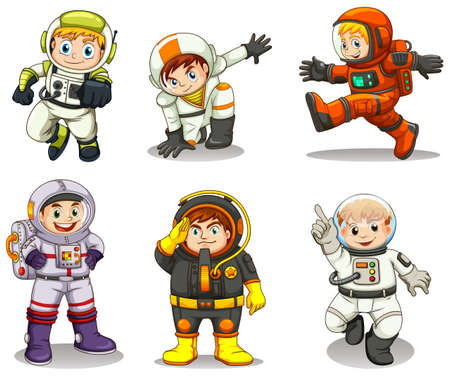 lllustration: lllustration of the young explorers on a white background