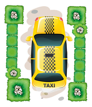 lllustration: lllustration of a topview of a yellow taxi on a white background