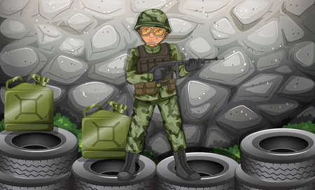 Illustration of a brave soldier hiding behind the stonewall Illustration