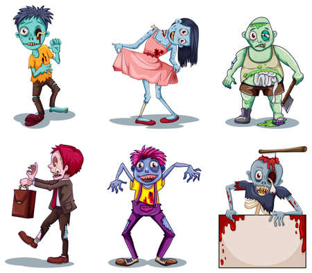 lllustration of the scary zombies on a white background Vector