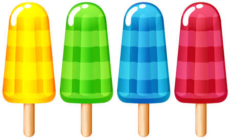 Illustration of the icecream on stick on a white background Illustration