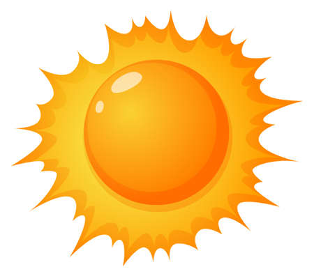 lllustration: lllustration of the hot sun on a white background