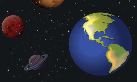 Illustration of the planets in the sky