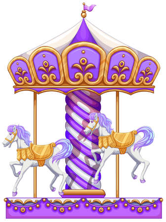 lllustration: lllustration of a purple merry-go-round ride on a white background