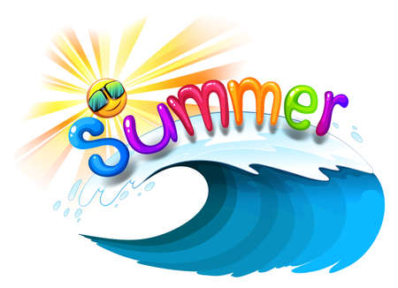 wavelengths: Illustration of a summer artwork on a white background