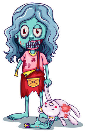 lllustration: lllustration of a young female zombie with a doll on a white background