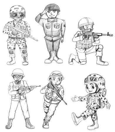 lllustration of the sketches of soldiers on a white background