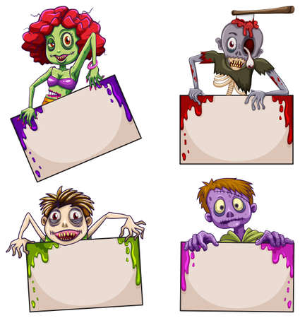 lllustration of the zombies with empty signboards on a white background Vector