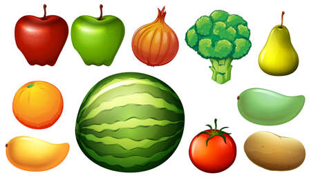 lllustration: lllustration of the nutritious foods on a white background