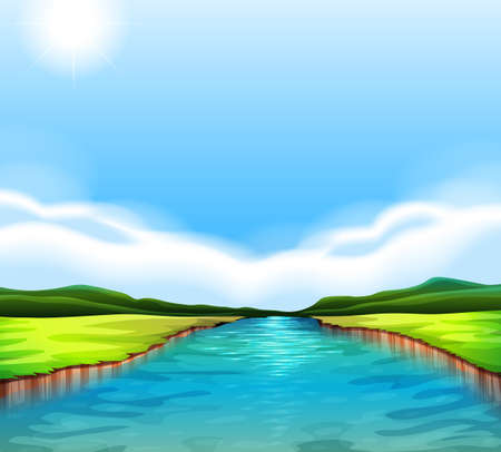 Illustration of a flowing river Vector