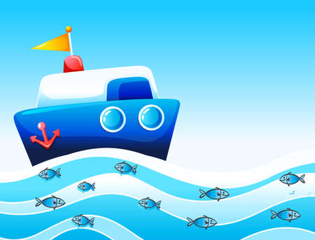 wavelengths: Illustration of a boat in the ocean