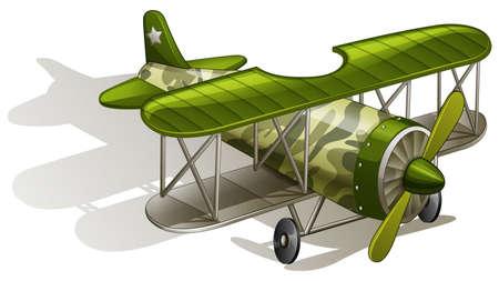 jetplane: lllustration of a green vintage plane on a white background Illustration