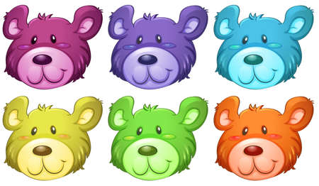 lllustration: lllustration of the cute bear heads on a white background