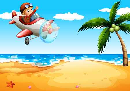propulsion: Illustration of an airplane at the beach