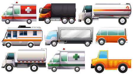 mounting: Illustration of the big vehicles on a white background