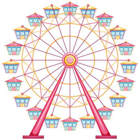 parken: lllustration eines Riesenrad Fahrt auf einem weißen Hintergrund Illustration