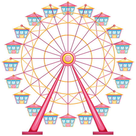 wheel: lllustration of a ferris wheel ride on a white background Illustration