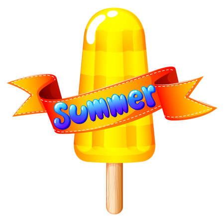 refreshing: Illustration of a refreshing icecream on stick for summer on a white background