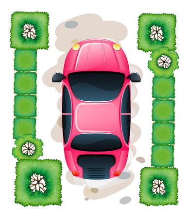 lllustration of a topview of the parked pink car on a white background