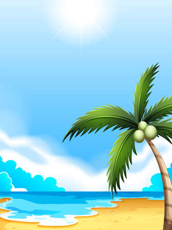 wavelengths: Illustration of a beach with a coconut tree Illustration
