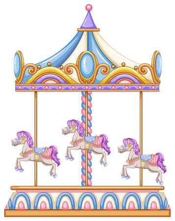 lllustration de un paseo a caballo en el carnaval en un fondo blanco