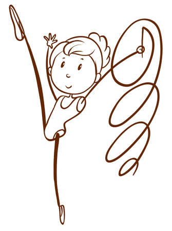 flexible woman: lllustration of a doodle design of a gymnast on a white background