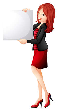 lllustration: lllustration of a pretty woman holding an empty board on a white background Illustration