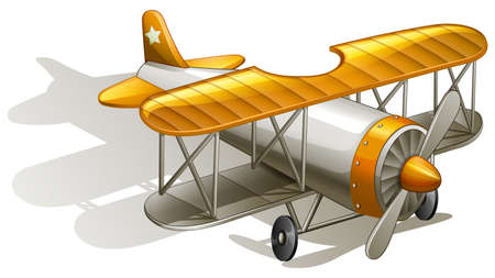 supersonic: lllustration of a vintage orange and gray coloured plane on a white background Illustration