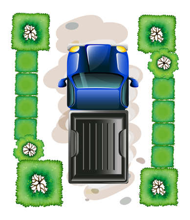 lllustration: lllustration of a topview of a blue truck parked on a white background