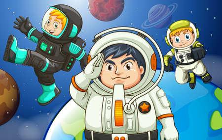 outerspace: Ilustraci�n de los hombres en el espacio exterior Vectores