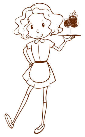 lllustration: lllustration of a simple sketch of a waitress on a white background