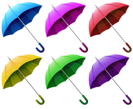 handheld device: Illustration of the colourful brollies on a white background