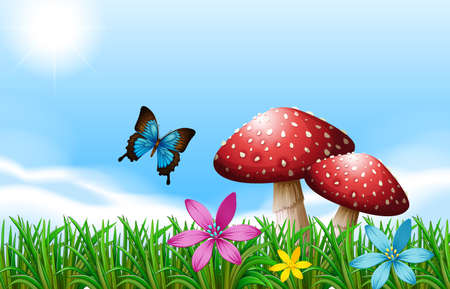 macroscopic: Illustration of a butterfly near the red mushrooms