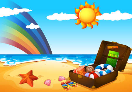 Illustration of a beach under the sky with a rainbow and a bright sun Vettoriali