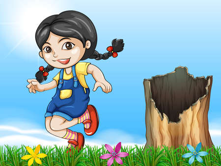 shredding: Illustration of a girl playing beside the stump