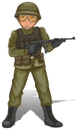 fallschirmj�ger: Illustration eines tapferen milit�rischen Soldat auf einem wei�en Hintergrund