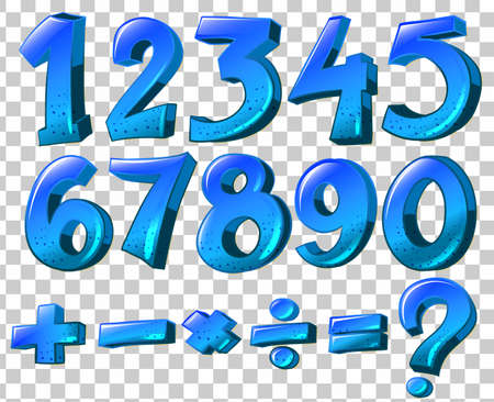 Illustration of the numbers and math symbols in blue color on a white background